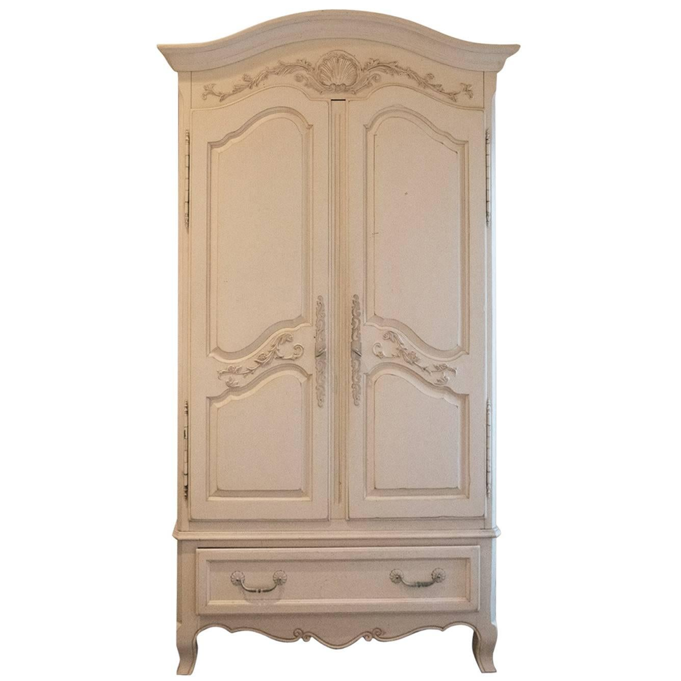 Beautiful Fabulously French Armoire Carved Detail French Creme White For Sale