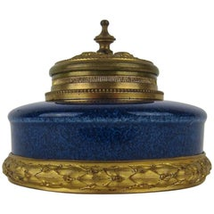 Antique Paul Milet French Faience Inkwell with Neoclassical Gilt Bronze Mounts