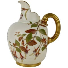 Antique Royal Worcester Porcelain Flat Back Pitcher, 1890