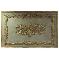 20th Century French Wall Plaque with Carved Gilt Bird Motif