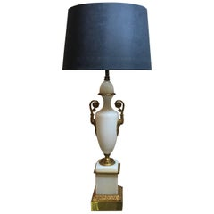 French Opaline Neoclassical Urn Lamp with Gilt Bronze Mounts