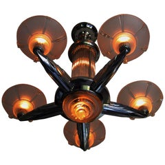 Art Deco Chandelier by Petitot, France, 1935, Signed