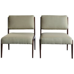 1950s Ico Parisi Attributed Mid-Century Modern Italian Wood Armchairs