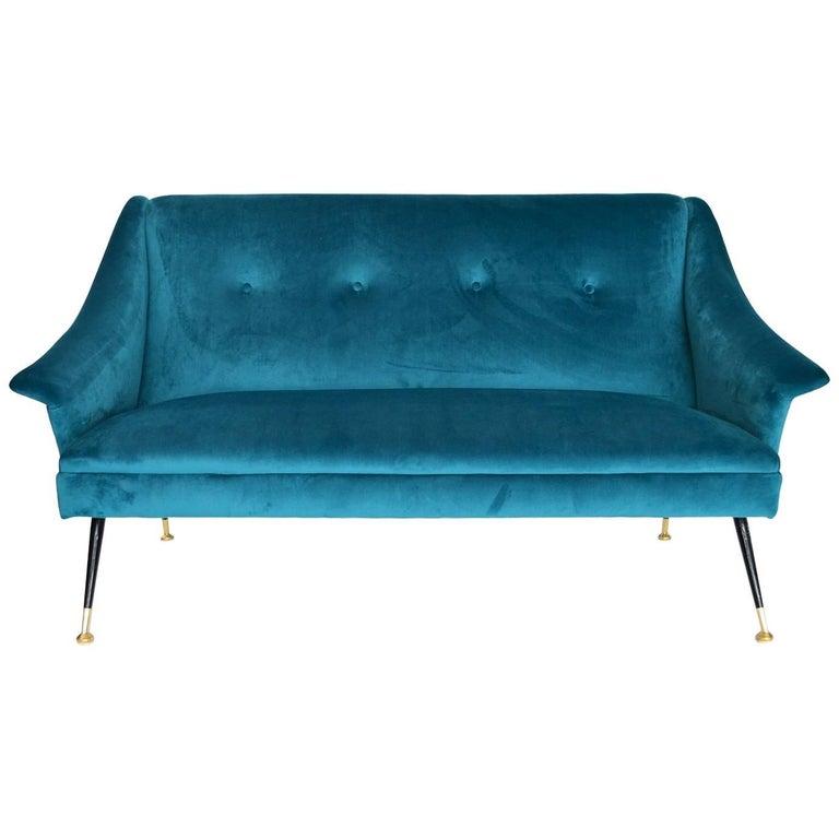 Italian Mid-century Sofa Reupholstered with Petrol Velvet, 1950s For Sale