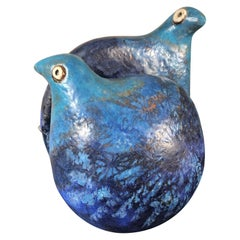 Fine Blue Love Doves Sculpture Master Work Hand-Painted by Eva Fritz-Lindner