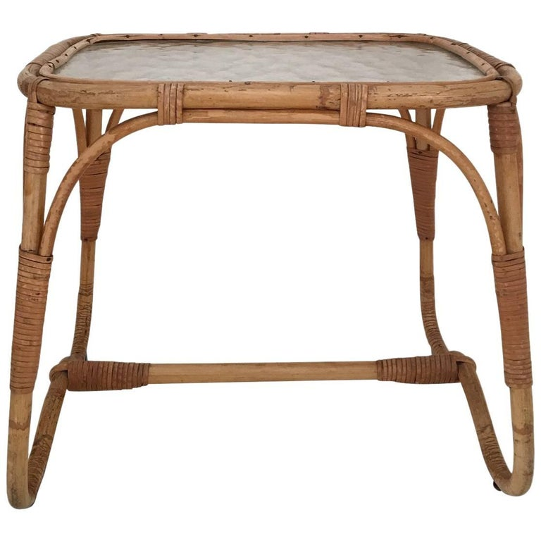 Boho Rattan Coffee Table: Pair Of Rattan Wrapped Glass Top Side Tables, Beach House