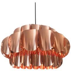 Three-Tiered Copper Pendant Lamp by Temde, Switzerland, 1960s
