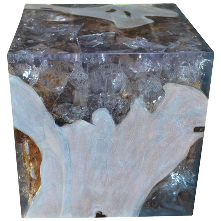 Andrianna Shamaris St. Barts Teak Wood and Resin Side Table For Sale