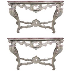Pair of 19th Century Louis XV Style Painted Consoles with Marble Tops