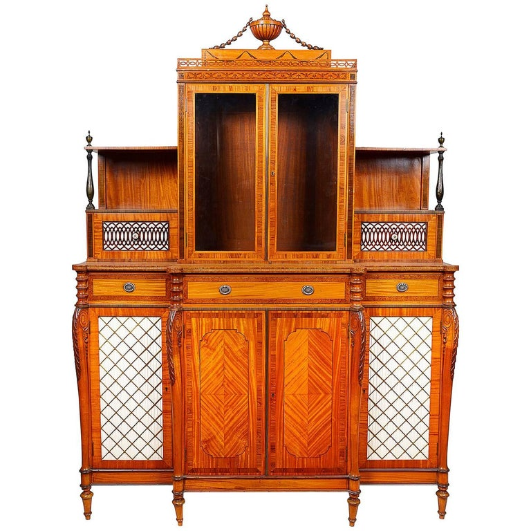 Satinwood Sheraton Revival Side Cabinet, 19th Century
