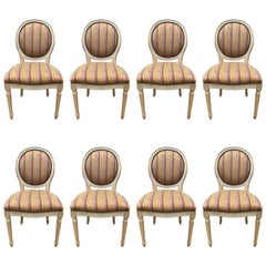Set of Eight French Louis XVI Style Cream Oval Back Dining Chairs