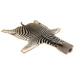 Forsyth Zebra Hide Rug Trimmed In Burnt Orange Velvet