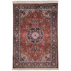 Vintage Persian Qum Silk Rug with Rococo Manor House Style