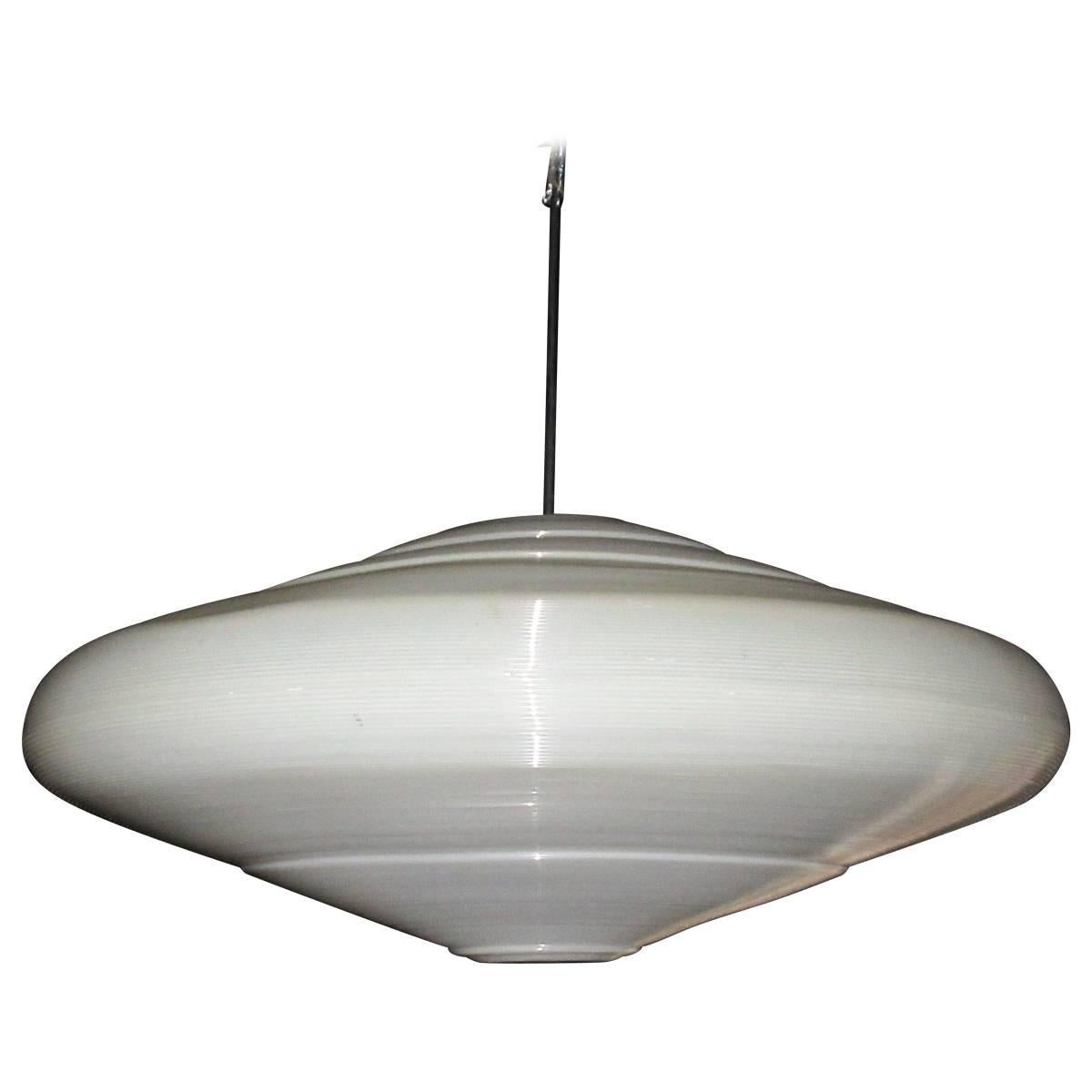 Ribbed saucer pendant chandelier by heifetz rotoflex for sale at 1stdibs