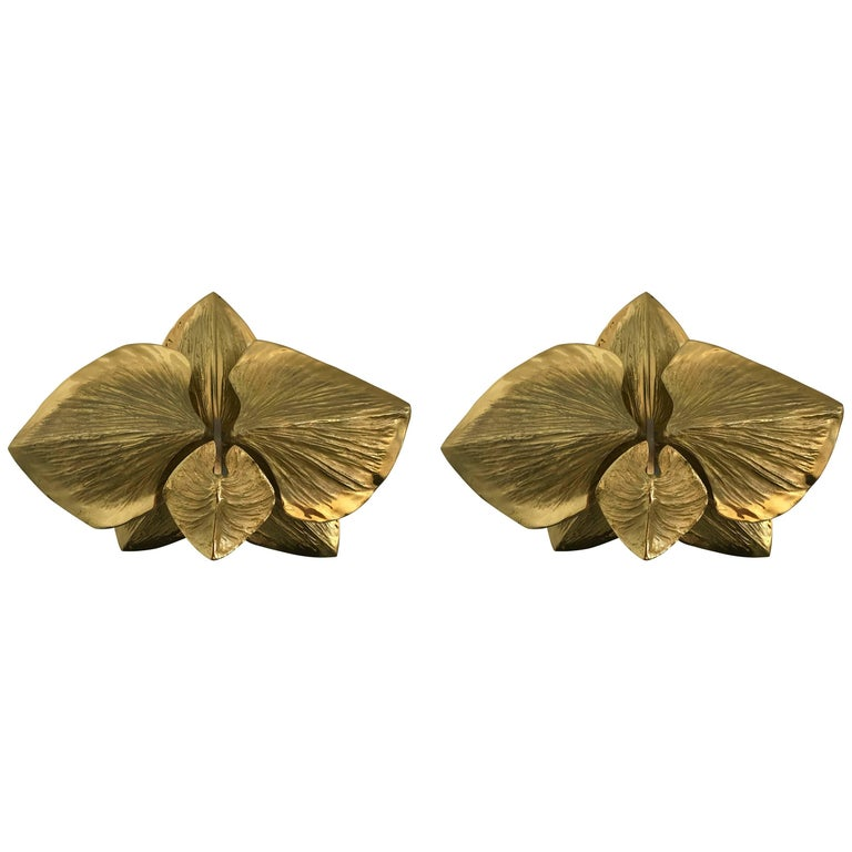 Pair of Bronze Sconces Orchid by Maison Charles, France, 1980s