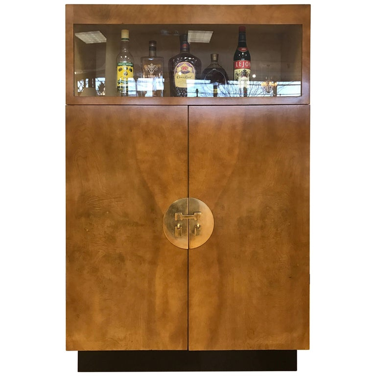 Tall Midcentury Chinoiserie Campaign Bar Display Cabinet Burl Wood For Sale