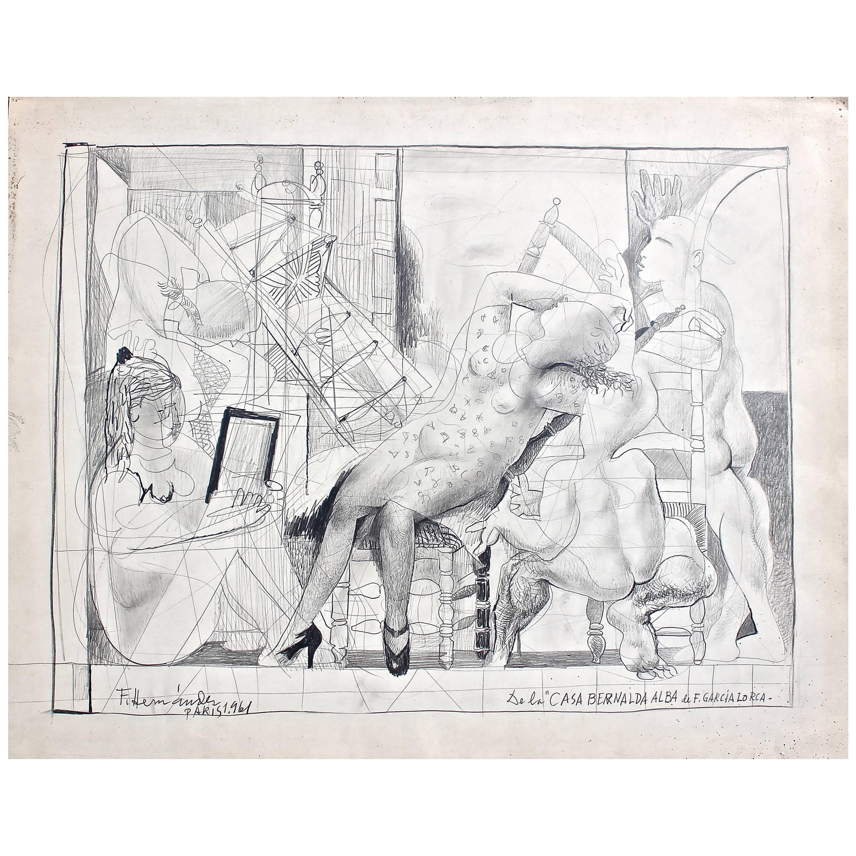 """Francisco Hernandez Drawing """"Casa Bernalda Alba De Garcia Lorca"""""""