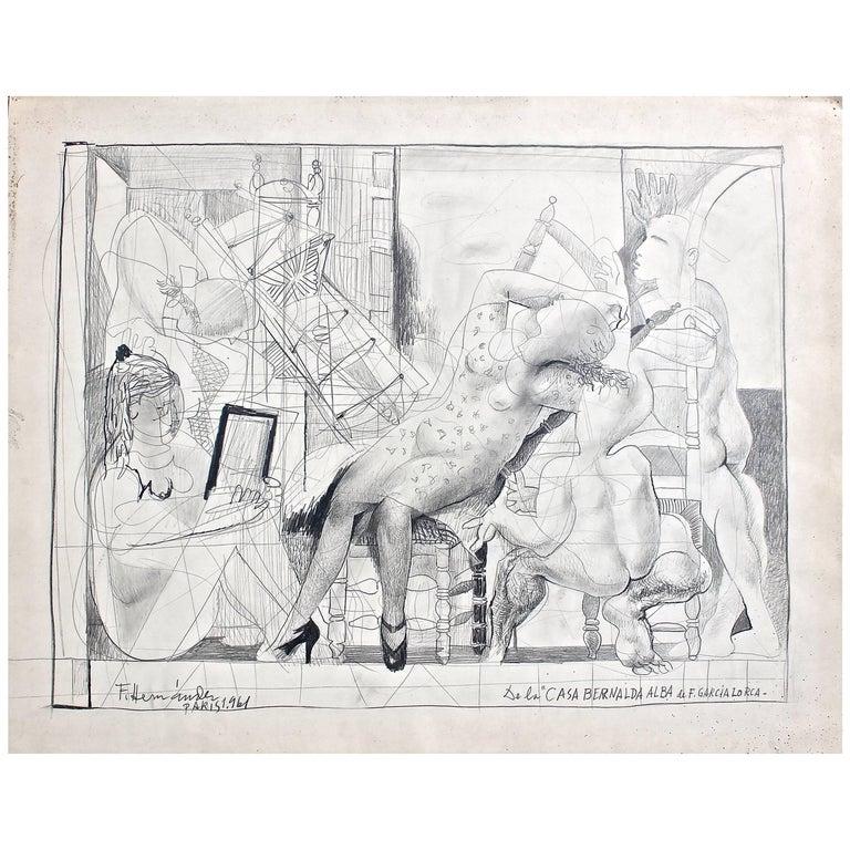 """Francisco Hernandez Drawing """"Casa Bernalda Alba De Garcia Lorca"""" For Sale"""