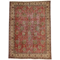 Distressed Vintage Persian Tabriz Rug with Industrial Style