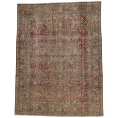 Weathered Distressed Vintage Persian Tabriz Rug with Rustic English Manor Style