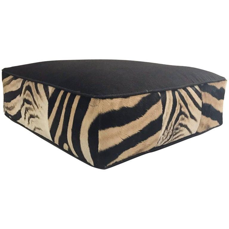 Forsyth Zebra Hide and Loro Piana Alpaca and Virgin Wool Floor Pillow