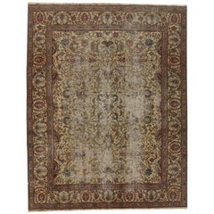 Distressed Vintage Persian Tabriz Rug with Industrial Style, Weathered Area Rug