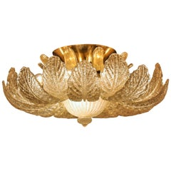 Large Murano Glass Flush Mount by Barovier e Toso, circa 1960s