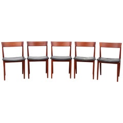Mid-Century Modern Scandinavian Set of Five Chairs in Teak, Harry Rosengren Hans