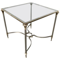Maison Jansen Steel and Bronze Glass Topped Side Table