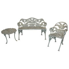 Three-Piece Set of Cast Iron Garden Furniture in Celadon Green