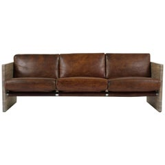 Milo Baughman Leather Three-Seat Sofa