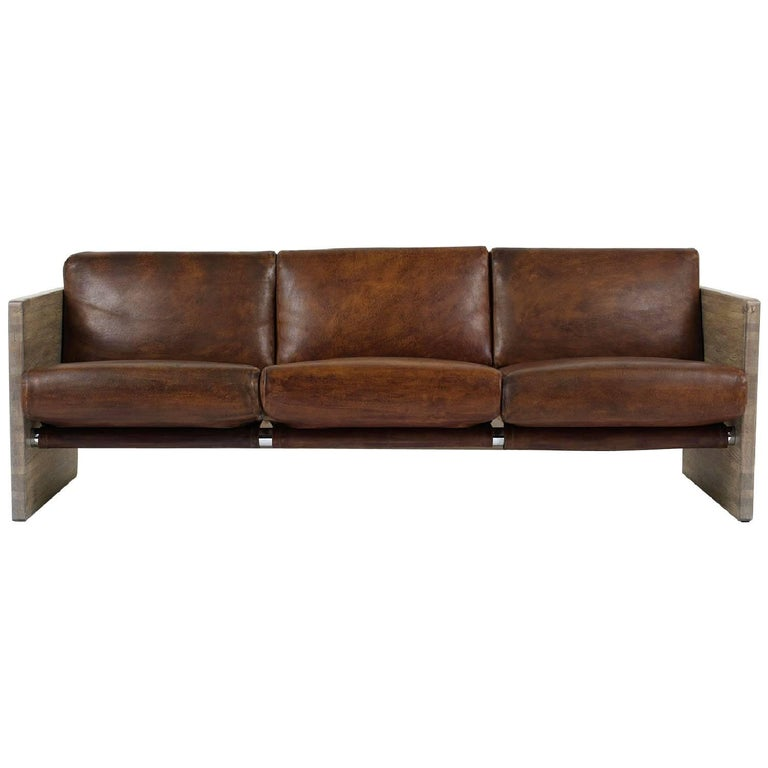Milo Baughman Leather Three-Seat Sofa For Sale