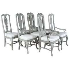 Set of Eight Regency Style Painted Dining Chairs