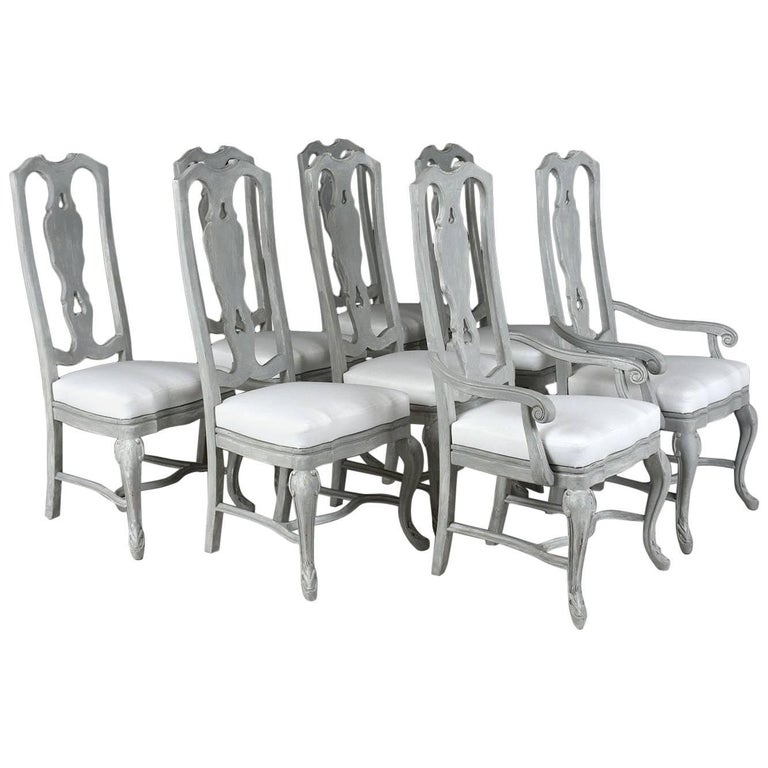 Set of Eight Regency Style Painted Dining Chairs For Sale