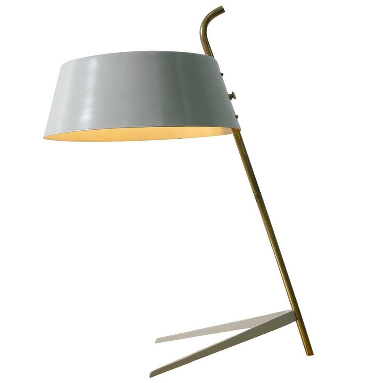 Desk Lamp in Grey Enamel Attributed to Stilnovo, Italy, 1950s