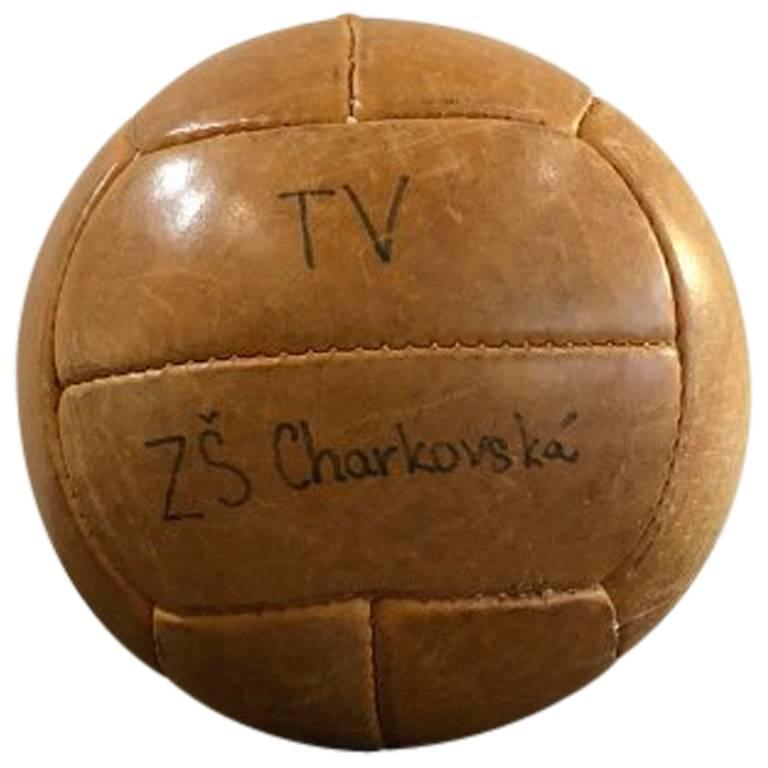 Vintage Leather Medicine Ball, 1940s For Sale