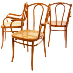 Set of Three Antique Thonet Bentwood Armchairs Fauteuil No. 56 F