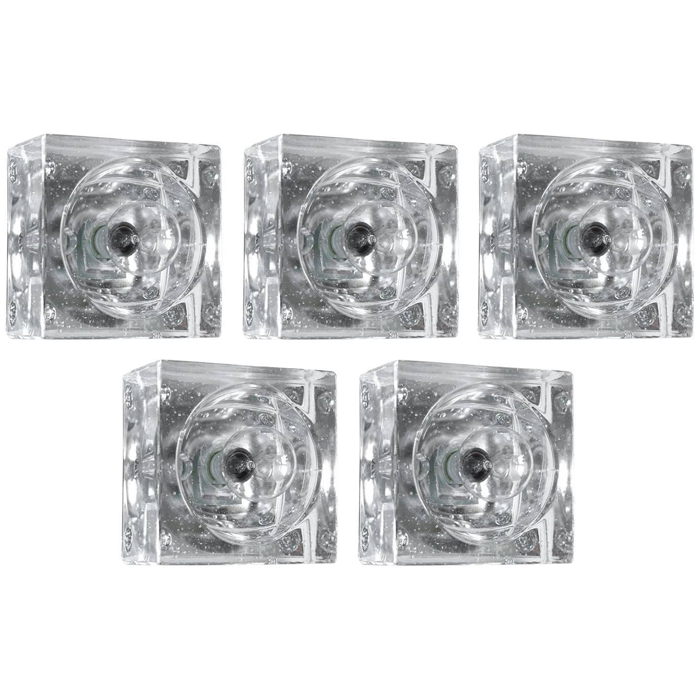 Rare Geometric Glass Ceiling or Wall Flush Mounts Sconces, 1960s