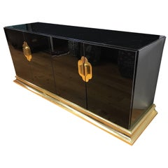 Art Deco Black Lacquer and Brass Sideboard Credenza Buffet Bar