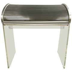 Kagan Style Midcentury Lucite and Aluminum Roll Top Desk