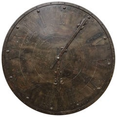 Large French Antique Metal Wall Clock Face