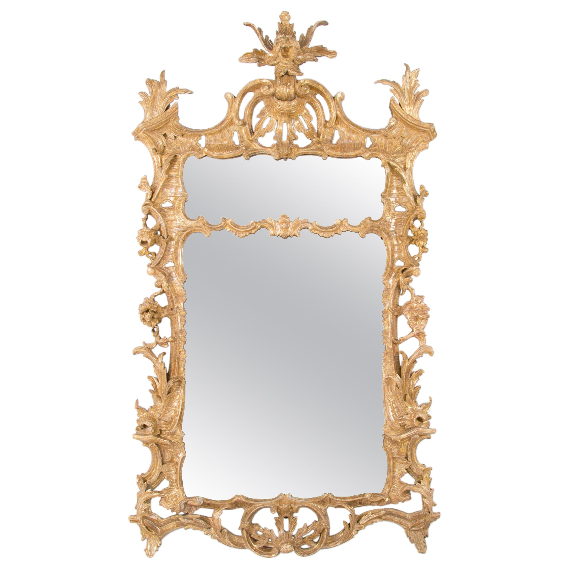 18th Century Carved and Giltwood English Chippendale Mirror, Large Scale
