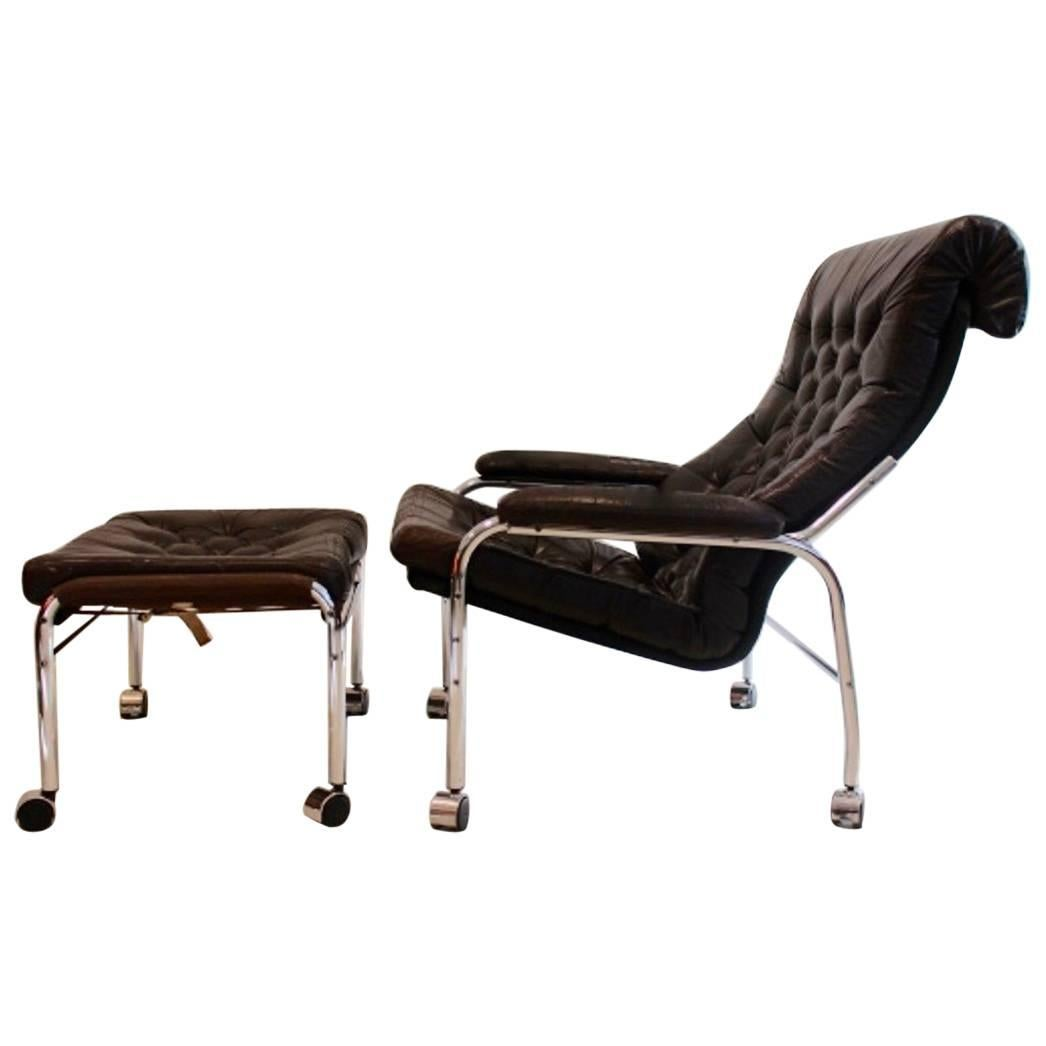 Extremely Rare Noboru Nakamura Bore Leather Lounge Chair with Footstool, 1970s