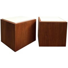 Pair of Cube Tables Teak