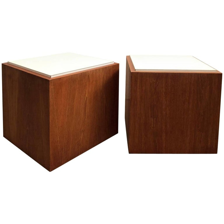 Pair of Cube Tables Teak For Sale