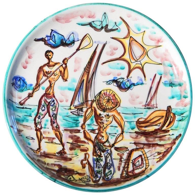 """Mending Nets Beachside,"" Rare Midcentury Plate, Società Anonima Marina, Italy For Sale"