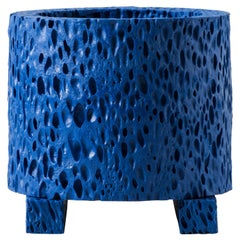 Contemporary Tektites 'Lost Foam' Blue Porcelain Pot by Studio Furthermore