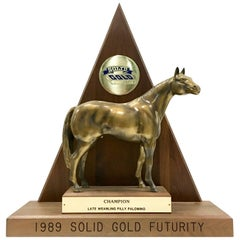 Solid Brass and Walnut Mounted Championship Horse Trophy, 1989