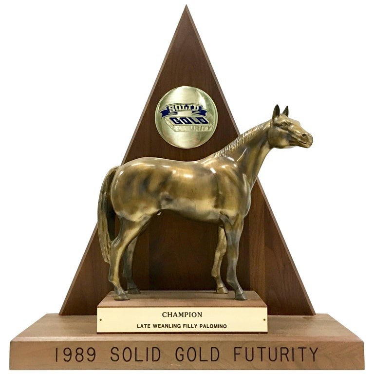 Solid Brass and Walnut Mounted Championship Horse Trophy, 1989 For Sale