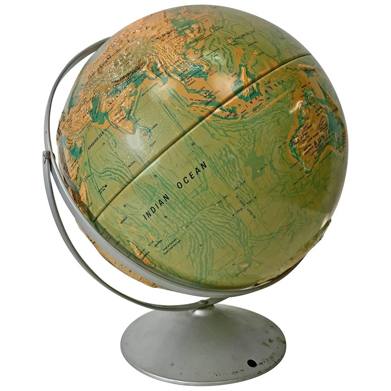 Sculptural Relief World Globe by Nystrom For Sale